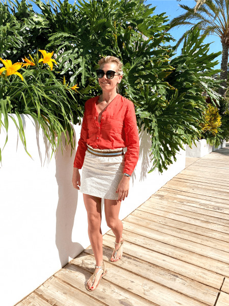 Top broderie Anglaise Orange