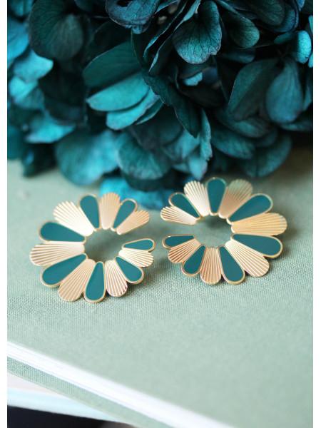 Boucle d'oreilles Vert clair Flower 1