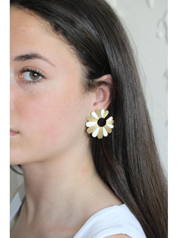 Boucles d'oreilles Blanc Flower 1