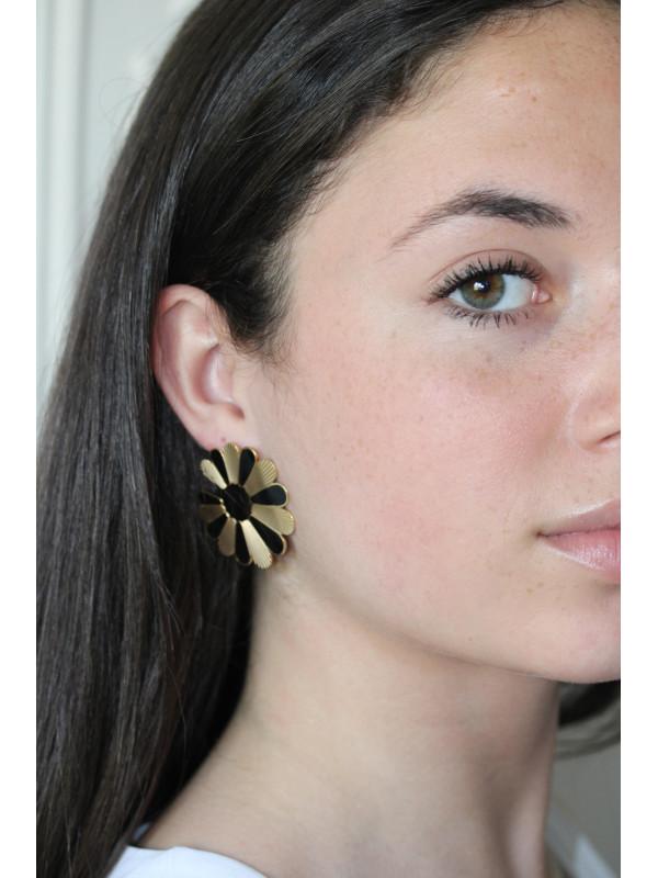 Boucles d'oreilles Noir Flower 1